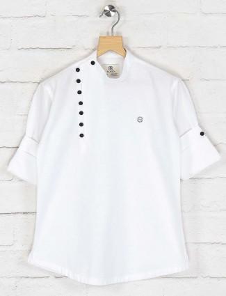 White solid cotton festive wear kurta suit