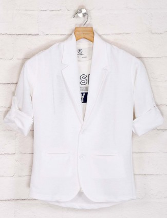 White solid terry rayon party blazer
