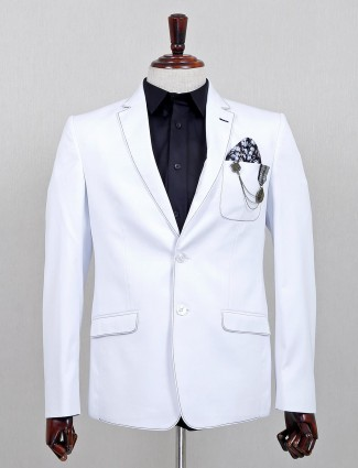 White terry rayon solid party wear blazer