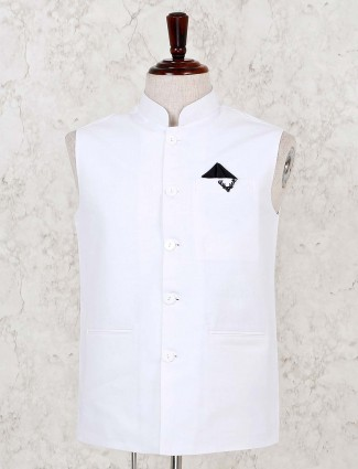 White terry rayon solid waistcoat