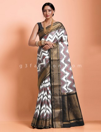 White twill silk designer saree