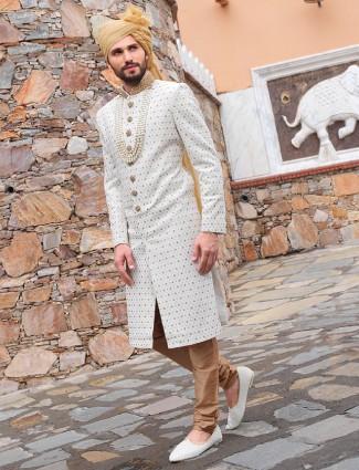 White wedding wear sherwani in silk fabric
