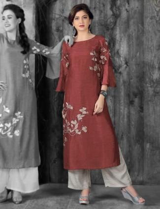 Wine color festive kurti in cotton silk
