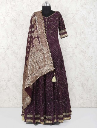 Wine color georgette floor length anarkali salwar suit