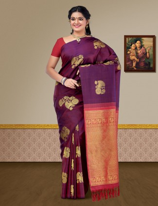 Wine purple color kanjivaram pure silk wedding saree