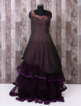 Wine color silk designer gown