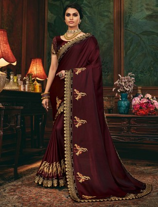 Wine colored satin saree for festive look