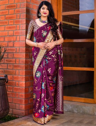 Wine purple hue banarasi silk wedding wear