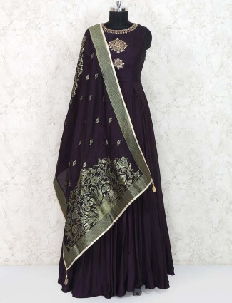 Purple hue cotton festive floor length anarkali suit