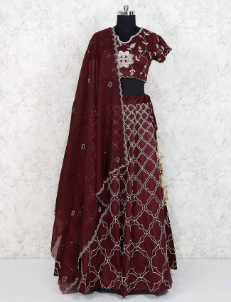 Wine hue silk party lehenga choli