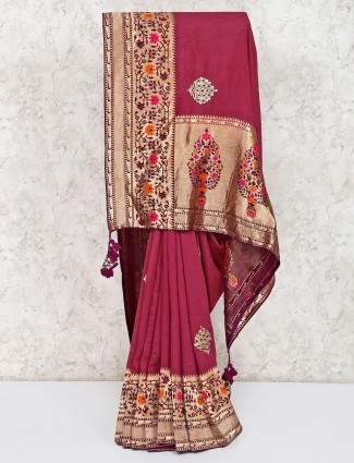Wine maroon classic semi silk saree