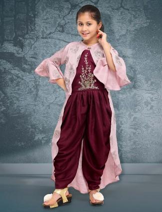 Wine maroon colored raw silk punjabi dhoti suit