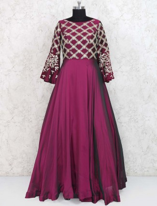 Wine maroon colored satin gown