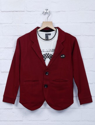Wine maroon cotton fabric party blazer
