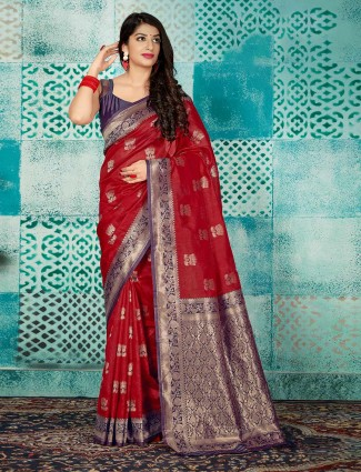 Wine maroon designer banarasi silk saree