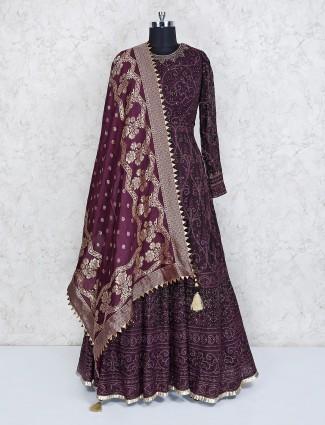 Wine maroon georgette floor length anarkali suit