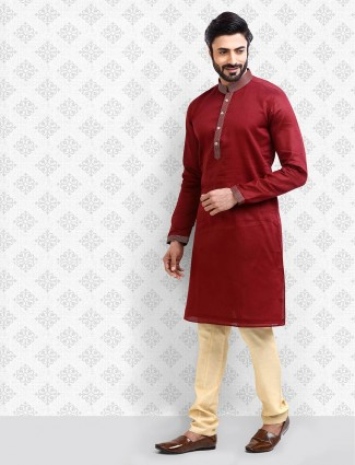 Wine maroon hue cotton fabric kurta suit