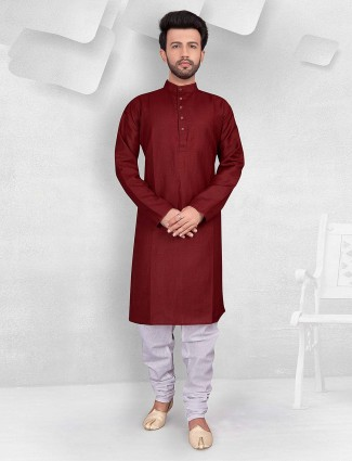 Wine maroon hue cotton kurta suit