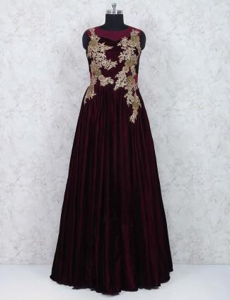 Wine maroon wedding wear designer gown