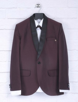 Wine purple hue terry rayon fabric tuxedo suit