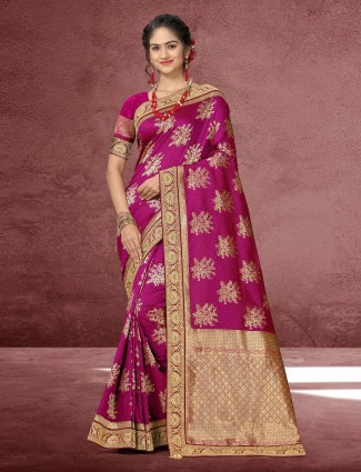 Wine purple silk wedding wear saree