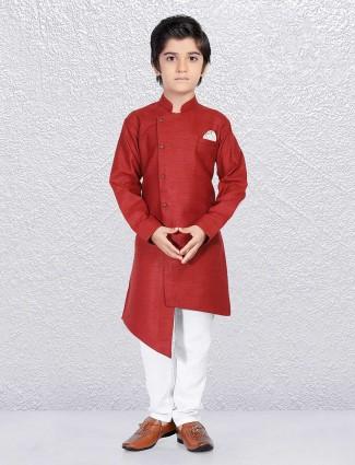 Wine wedding kurta suit for boys