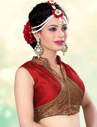 Wonder full red raw silk designer ready made blouse