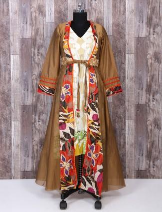 Wonderful Brown color palazzo suit