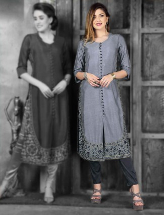 Wonderful grey cotton silk kurti