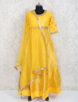 Wonderful orange banarasi silk floor length anarkali suit