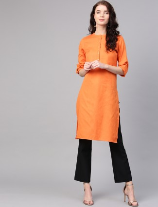 W wonderful orange hue casual kurti in cotton