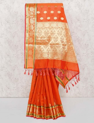 Wonderful orange hue semi silk saree