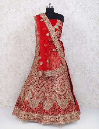 Wonderful velvet designer lehenga choli in red color