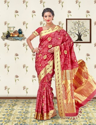 Woven maroon color soft silk saree