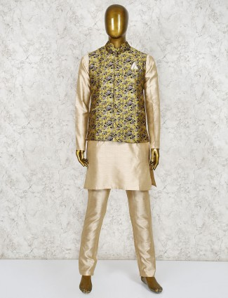 Yellow and beige printed raw silk waistcoat set