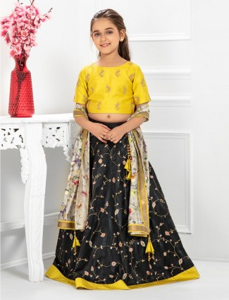 Yellow and black round neck raw silk lehenga choli