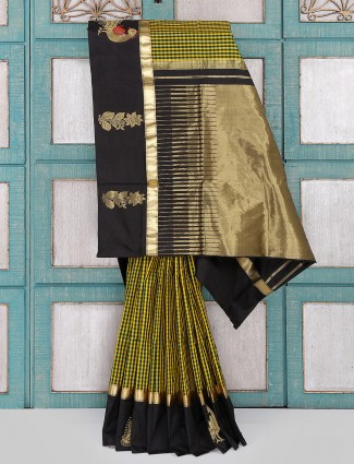 Yellow and black silk saree for party wear