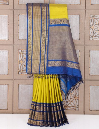 Yellow and blue color amazing silk wedding saree