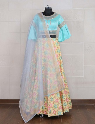 Yellow and blue hue party lehenga choli