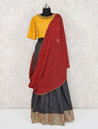 Yellow and dark grey raw silk lehenga choli