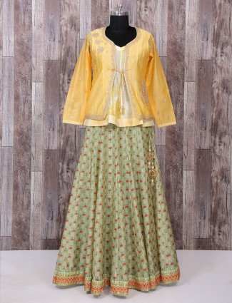 Yellow and green silk indo western style lehenga choli