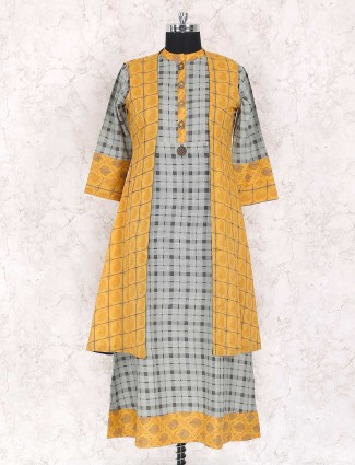yellow and grey casual kurti