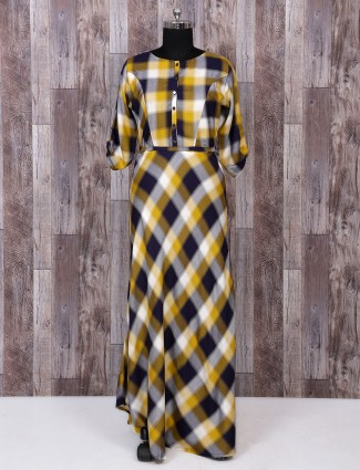 Yellow and navy color kurti