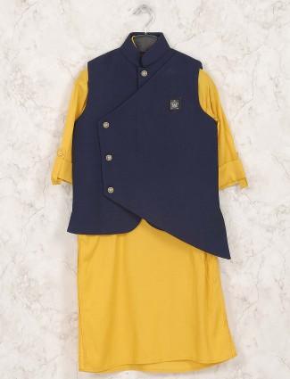 Yellow and navy designer waistcoat set