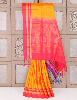Yellow and pink color silk fabric saree