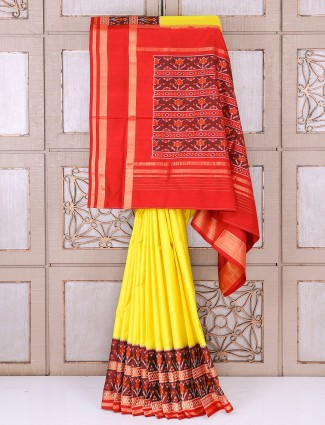 Yellow and red patola silk wedding wear saree