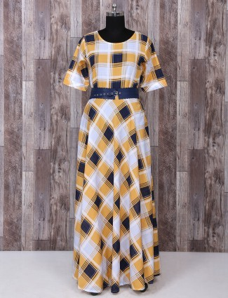 Yellow and white cotton kurti