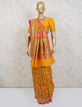 Yellow banarasi silk saree for wedding season