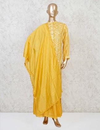 Yellow bandhej full sleeves punjabi sharara suit