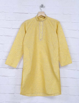 Yellow checks pattern festive kurta suit